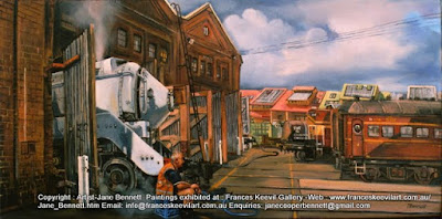 Plein air oil painting of 3801 steam locomotive steaming in the Large Erecting Shop, Eveleigh Railway Workshops painted by industrial heritage artist Jane Bennett