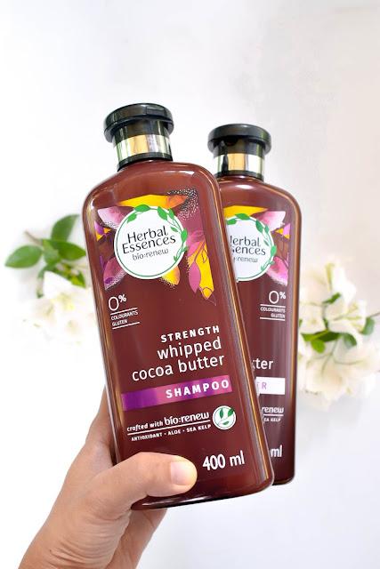Herbal Essences bio:renew Strength Whipped Cocoa Butter Shampoo dan Conditioner