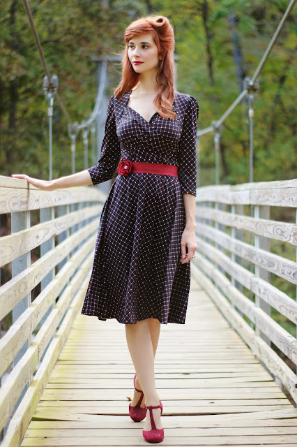 c5965724cb32a1 Trudy Dress in Cranberry Cross Dots- $108 from: Karina Dresses.com · The  Zest is History Heels from: ModCloth