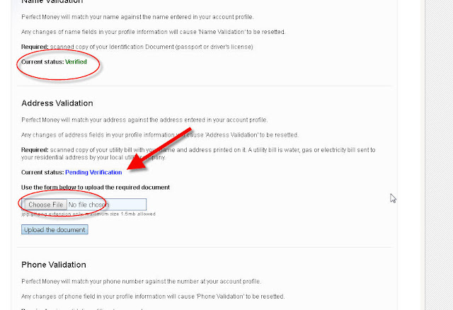 hướng dẫn verify tài khoản perfect money bước 3