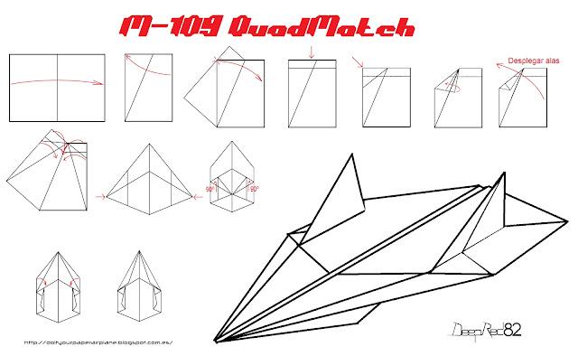 Infografía avión de papel M-109 QuadMatch
