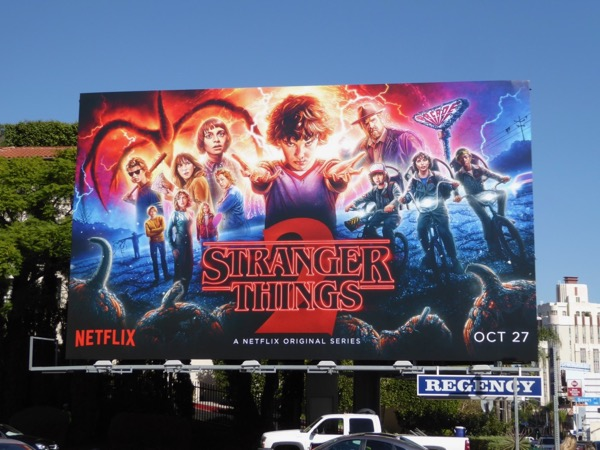 Illustrated Stranger Things 2 billboard