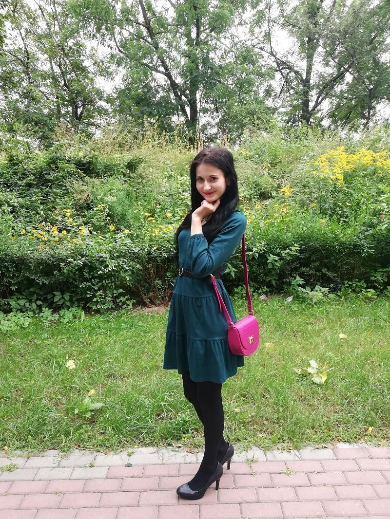 Orsay zielona sukienka z panelami