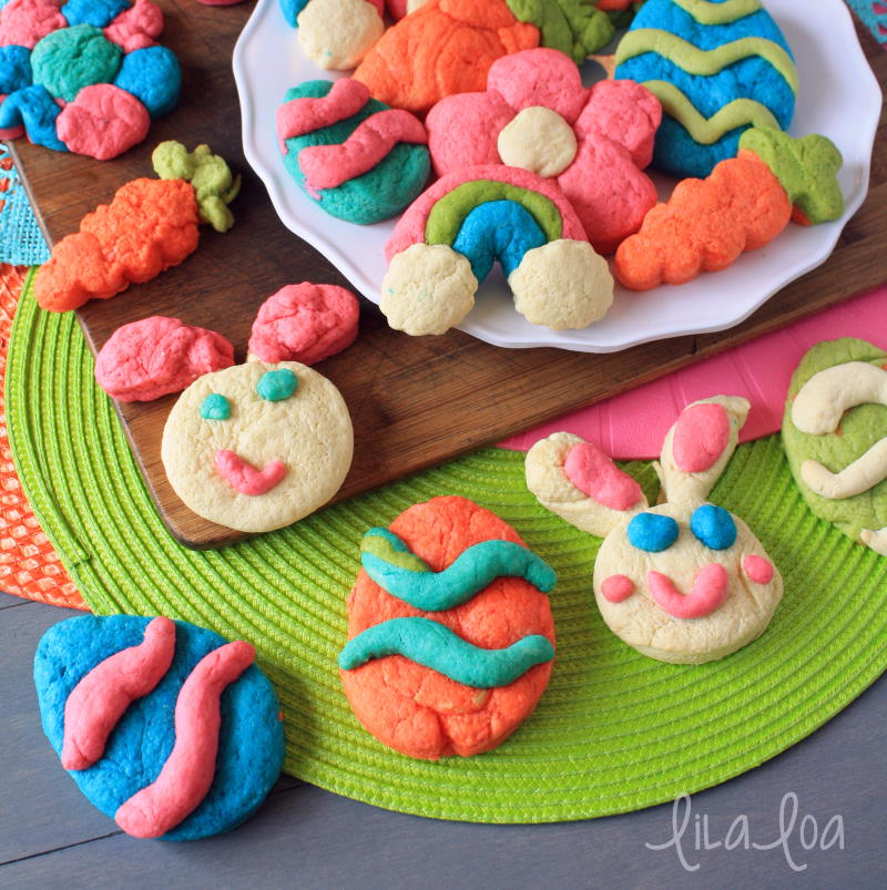 Colorful decorated sugar cookies -- cookie decorating with children