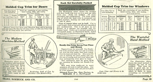 molded cap trim described in Sears Building Supplies catalog 1930