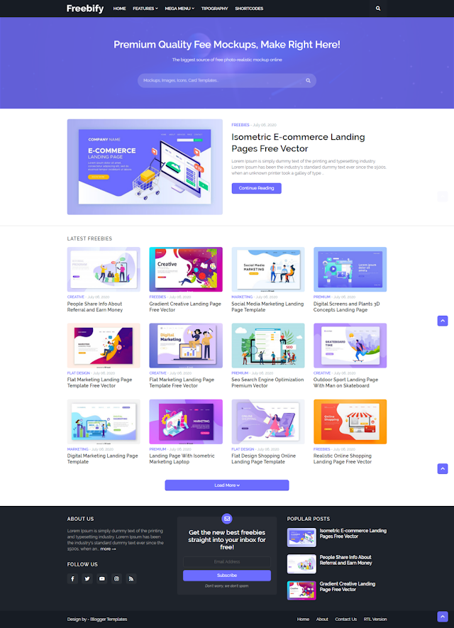 Freebify Responsive Blogger Template Download for free