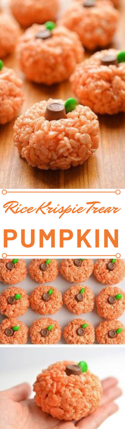 Rice Krispie Treat Pumpkins #pumpkin #desserts #snack #cakes #delicious