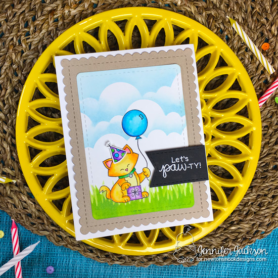 Cat Birthday card by Jennifer Jackson using the STAMPtember Exclusive: Let's Pawty Stamp Set by Newton's Nook Designs #newtonsnook #handmade