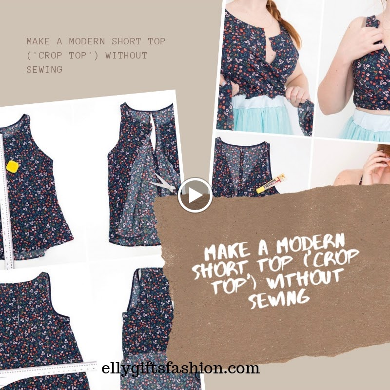 MAKE A MODERN SHORT TOP ('CROP TOP') WITHOUT SEWING!