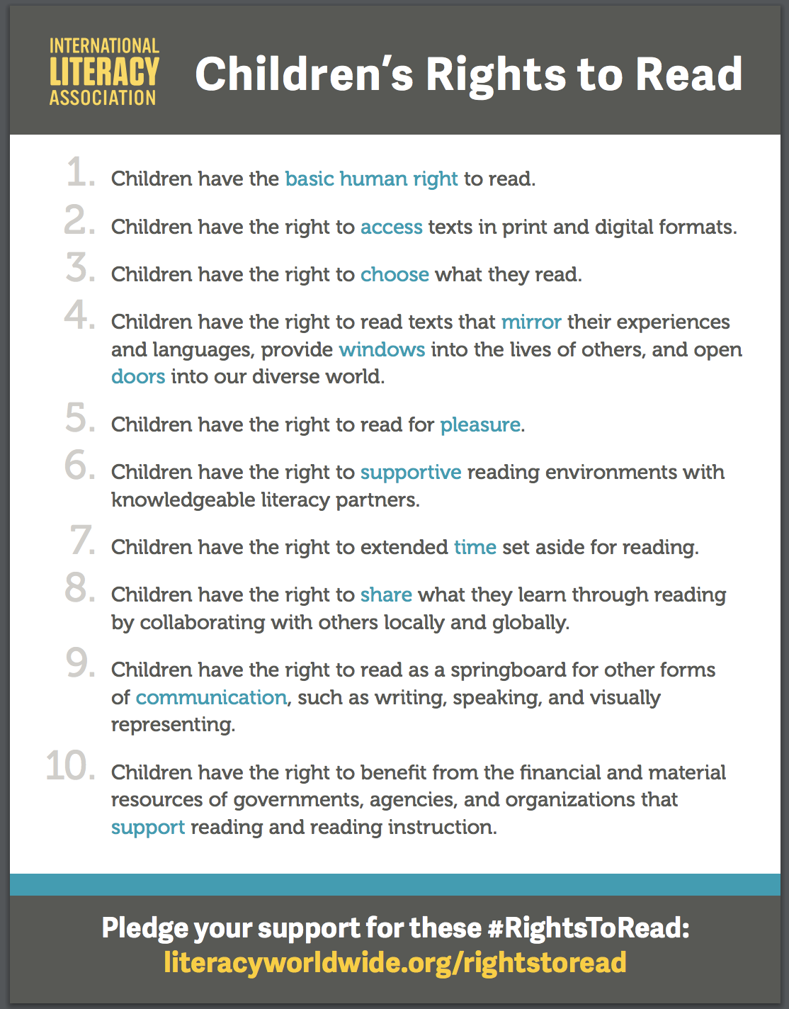 Do Children Have Right To Literacy >> The Library Voice The Children S 10 Rights To Read Let S Support