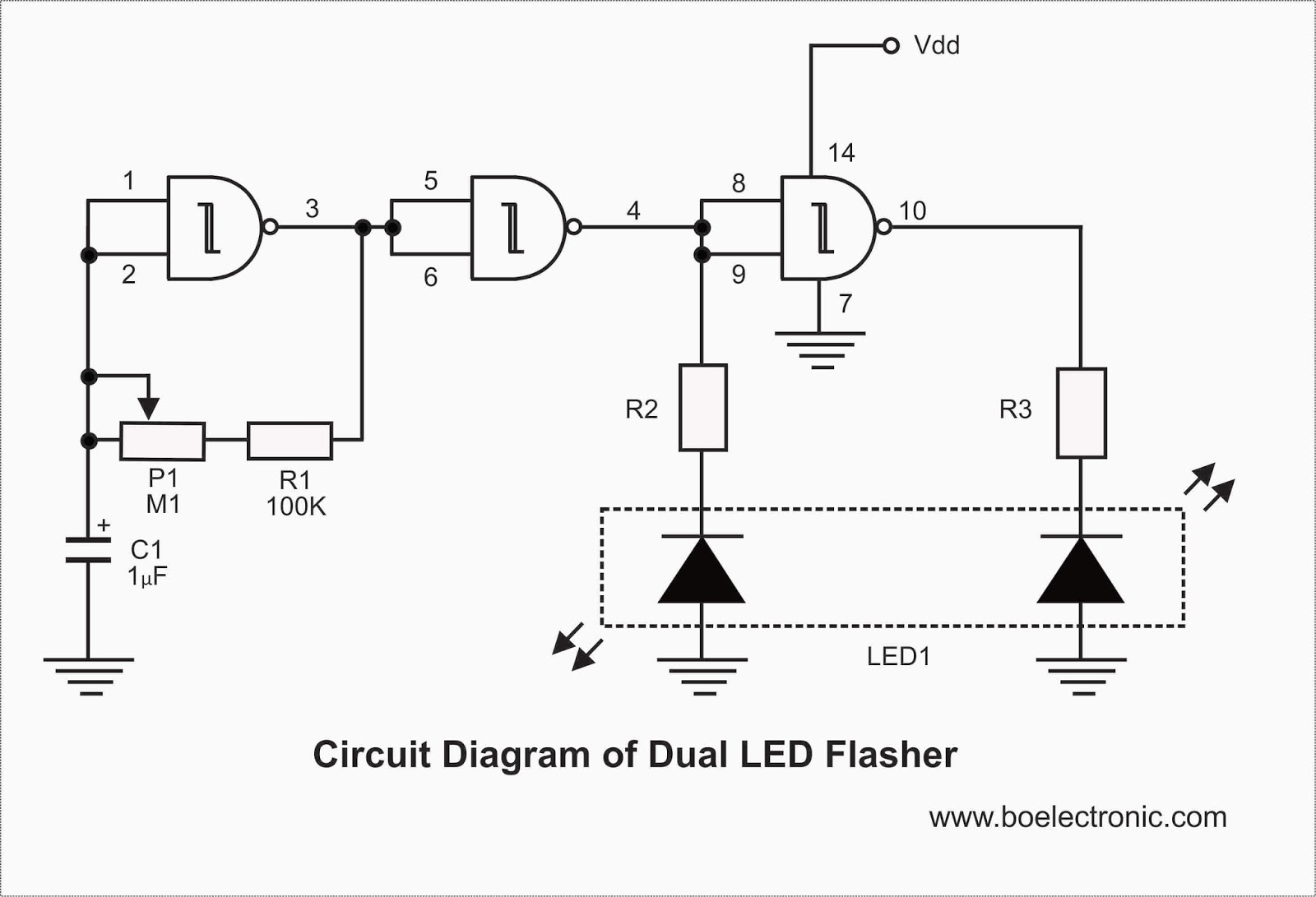 Electronic Flasher Wiring Diagram Taotao 50cc Scooter 2 Led Cmos Circuit Free Engine Image