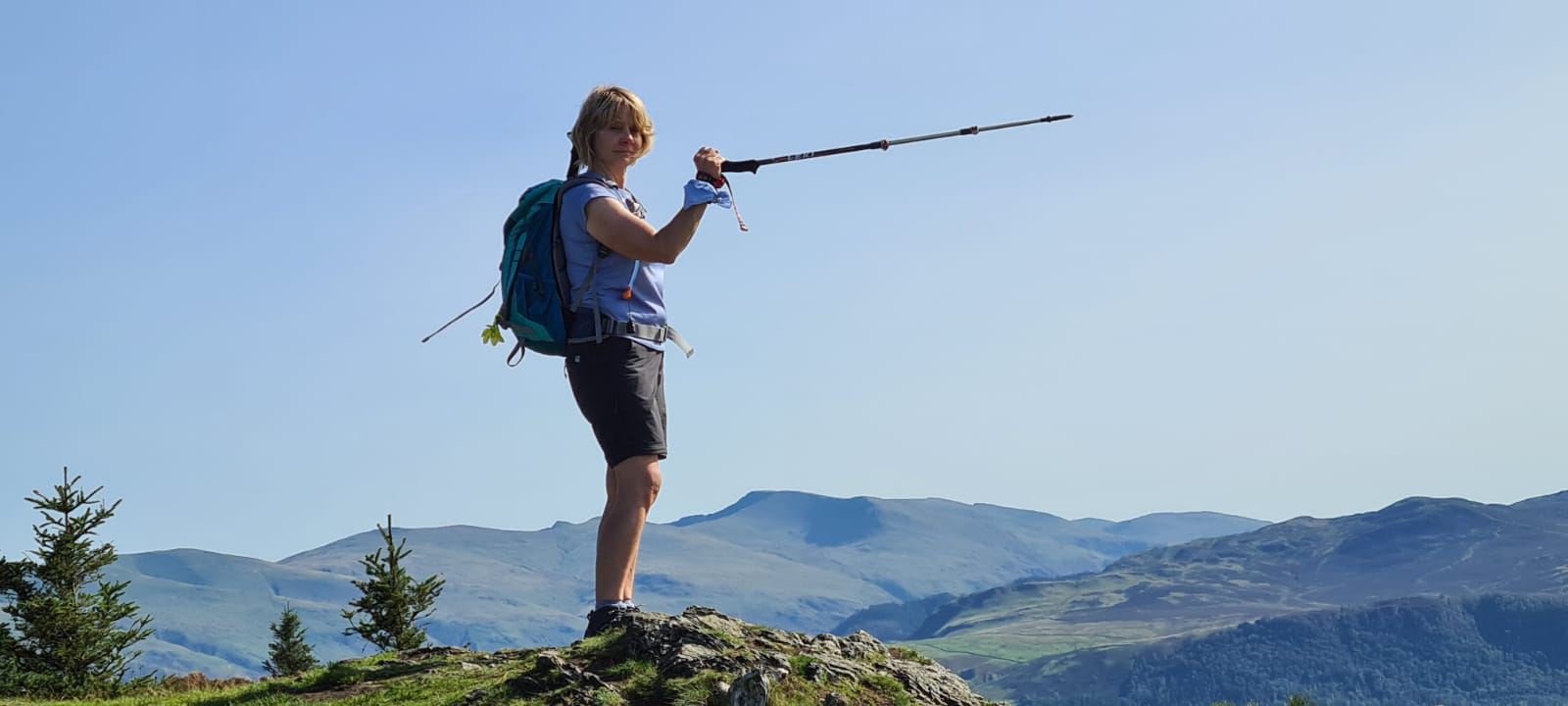 Doing my Edna Everage impression with a pointy stick. Is This Mutton on holiday in the Lake District