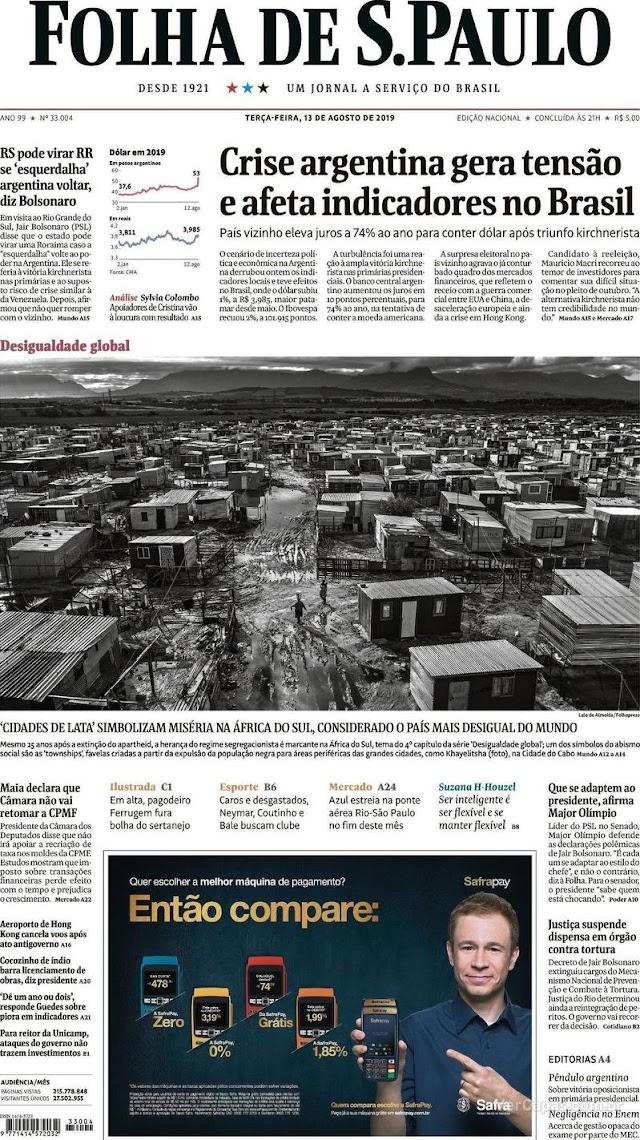 DESTAQUES DO DIA: notícias do Piauí, mercado financeiro, loterias, jornais desta terça-feira, 13 de agosto 2019