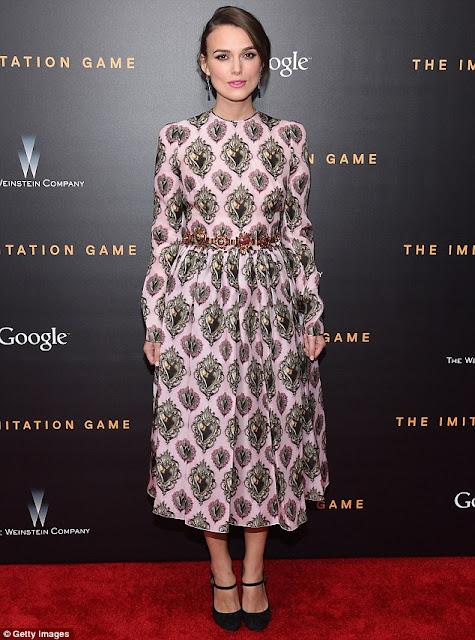 kiera knightly wearing floral dress at imitation games premier