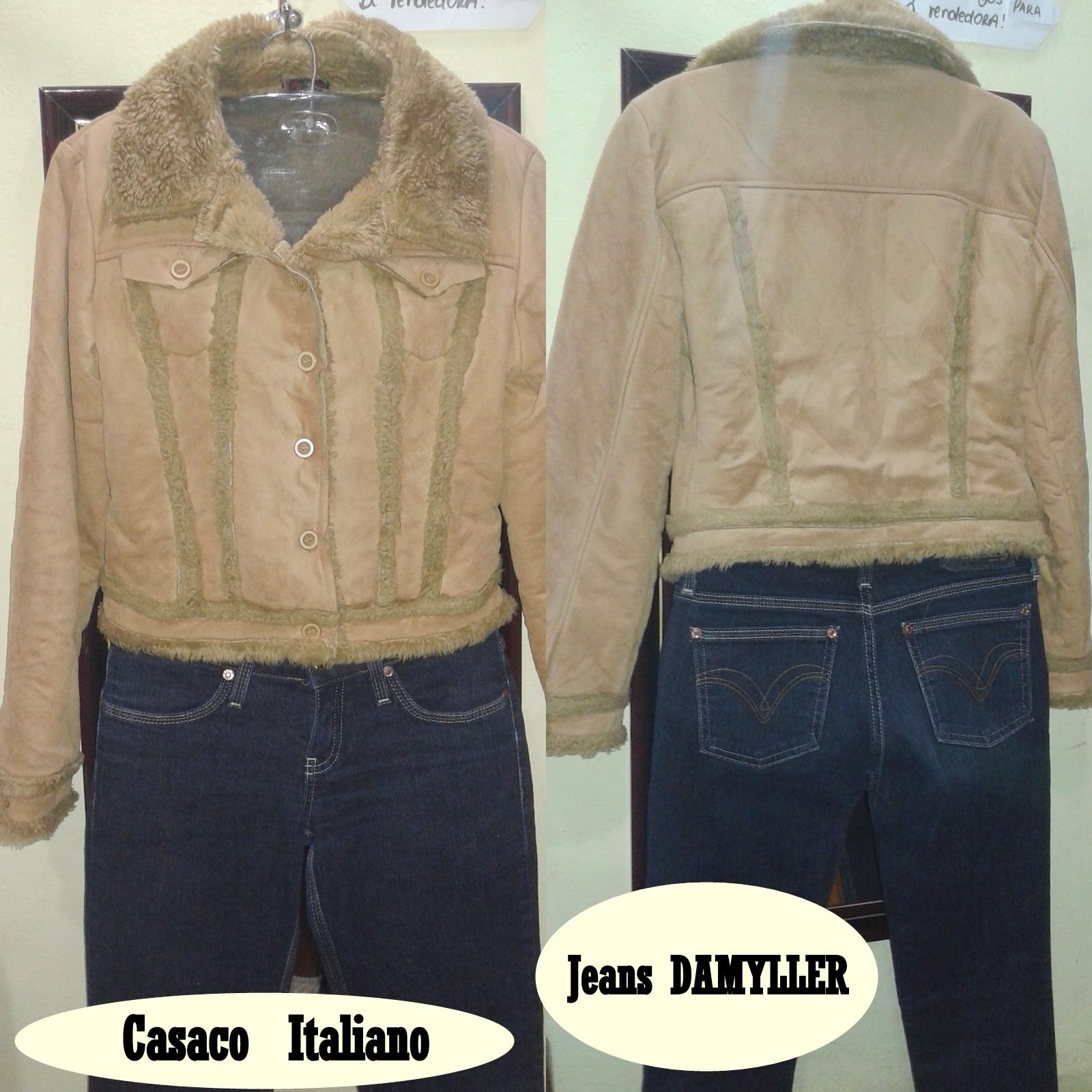 c8298c4af Ref.012 - Casaco de suede com detalhes de pele sintética + Calca Jeans  Damyller