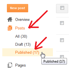 Dashboard list posts tabs