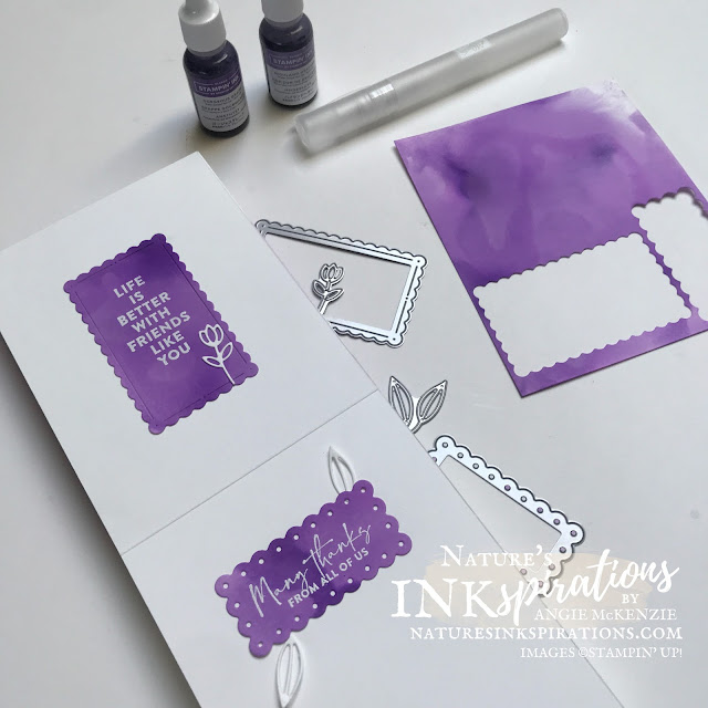 By Angie McKenzie for Crafty Collaborations Share it Sunday Blog Hop; Click READ or VISIT to go to my blog for details! Featuring the Flowers for Friendship Stamp Set, Colors & Contours Bundle, the Layering Hugs Dies and the Playful Alphabet Dies by Stampin' Up!; #thankyoucards #endalz #gopurple #alcoholinkbackground #stamping #shareitsunday #shareitsundaybloghop #flowersoffriendship  #colorsandcontours #layeringhugs #playfulalphabet #20212022annualcatalog #naturesinkspirations #makingotherssmileonecreationatatime #cardtechniques #stampinup #stampinupink #handmadecards #papercrafts #juneisalzheimersandbrainawarenessmonth