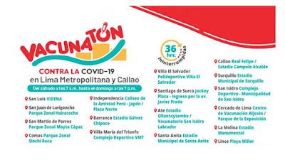 'Vacunatón' contra COVID-19 fechas, horarios, beneficiarios y centros de inmunización habilitados para el evento