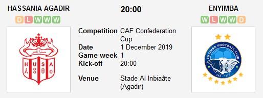 مشاهدة مباراة حسنية أكادير وإنييمبا بث مباشر في كأس الكونفيدرالية