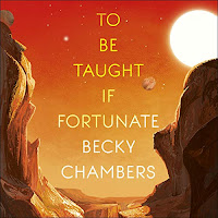 To Be Taught, If Fortunate audiobook cover: a rocky landscape with a red sky.