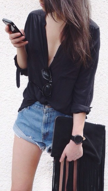casual style obsession: shirt + denim shorts + bag
