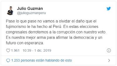 Julio Guzmán a Keiko: No olvidaremos el daño hecho por el fujimorismo al Perú