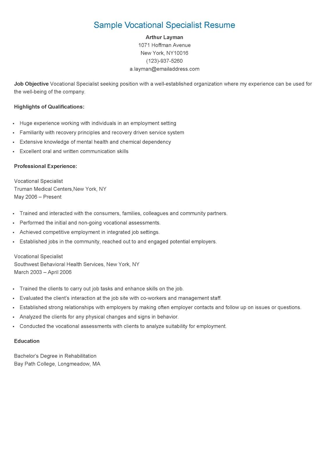 resume format for vocational 28 images brilliant