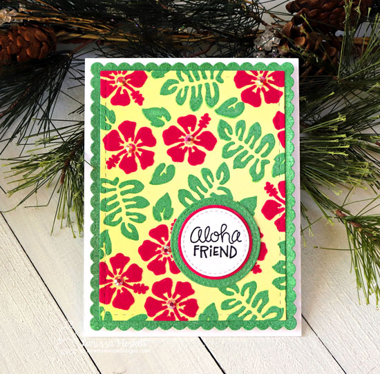 Hibiscus Card by Larissa Heskett | Hibiscus Stencil and Frames & Flags Die Set by Newton's Nook Designs #newtonsnook #handmade