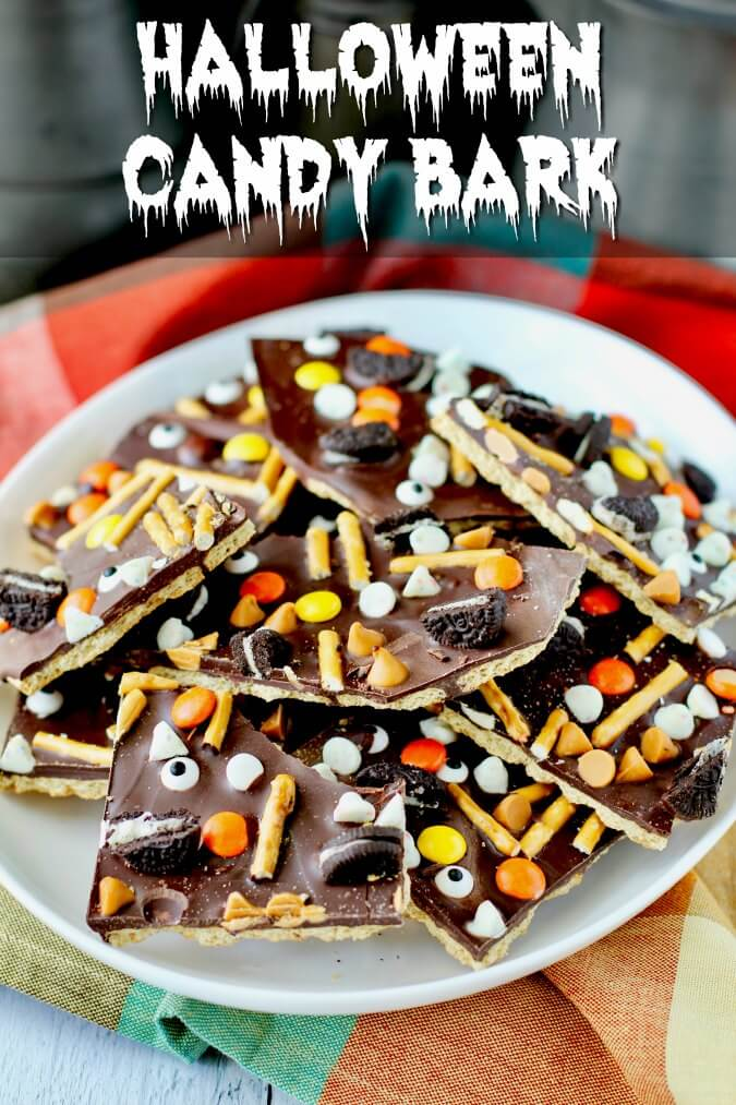 Halloween Candy Bark with pretzels and candy