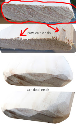compare raw cut end of wood to sanded end