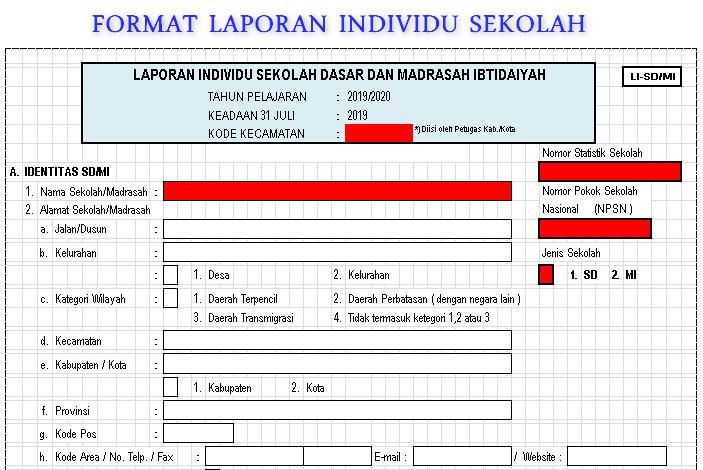 Format Laporan Individu Li Sekolah Madrasah