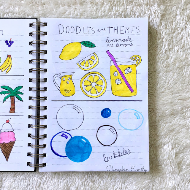 lemonade and lemon doodles and bubble doodles for summer