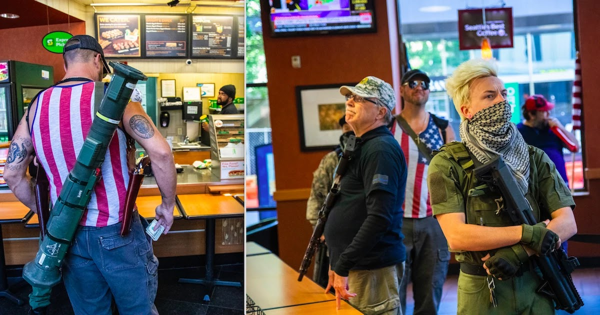 Anti-Lockdown Armed Protestors Spotted In Subway In North Carolina Carrying Rocket-Launcher And Machine Guns