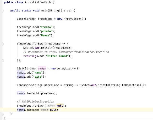 Java 8 ArrayList forEach() Examples Full Example