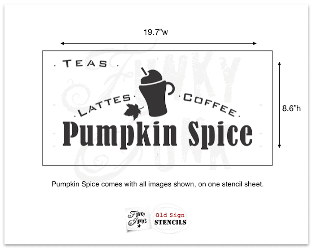 Photo of a pumpkin spice latte stencil.