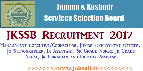 JKSSB Notification 2017, JKSSB Jobs, Govt Nurse jobs in Jammu & Kashmir