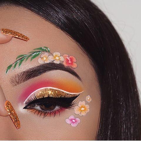make-up summer look flowers pink shiny orange