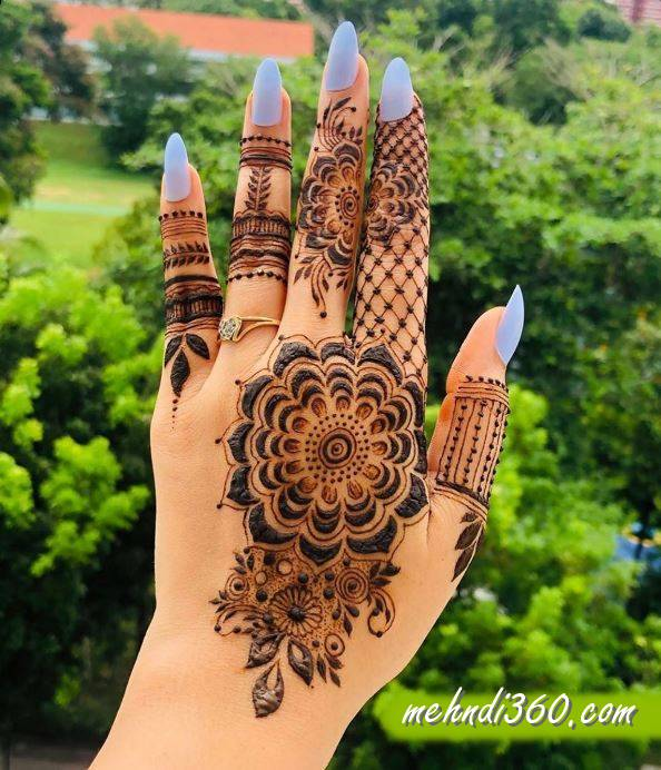 Glowing Mehndi Designs Back Hand