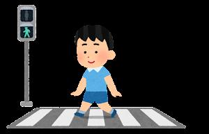 横断歩道と信号機と歩行者のイラスト(男の子・青信号)