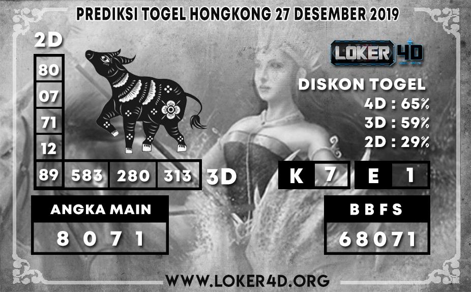 PREDIKSI TOGEL HONGKONG LOKER4D 27 DESEMBER 2019