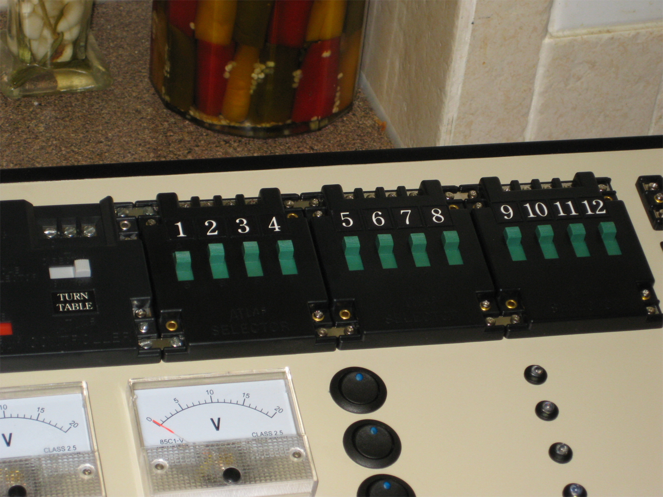 Control panel with Atlas selectors and homemade number labels installed