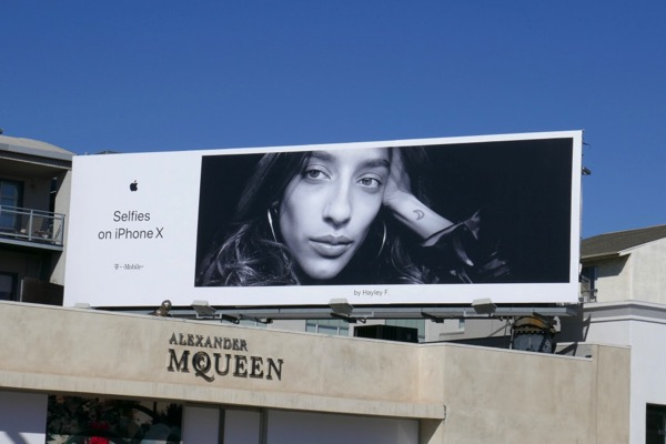 Selfies on iPhone X Hayley F billboard