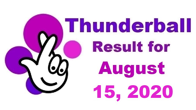 Thunderball Results for Saturday, August 15, 2020