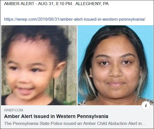 https://wnep.com/2019/08/31/amber-alert-issued-in-western-pennsylvania/?fbclid=IwAR3oIen-aCvUl_BKEf_nQDBMQsNOx5z1Xp17tm5ypKtrWkiDY0iZbu8f6U0