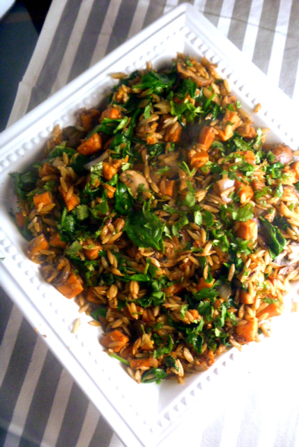 Orzo with Sweet Potato and Ginger:  onions, garlic, mushrooms, and sweet potatoes, caramelized to nutty browness and mixed with tender orzo.  A great meatless meal! - Slice of Southern