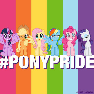 The Mane Six against a rainbow flag and the legend #PONYPRIDE