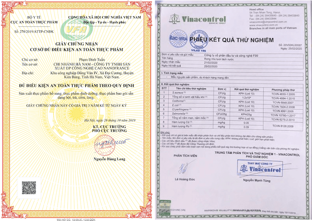 Giấy chứng nhận an toàn thực phẩm và phiếu kết quả thử nghiệm thành phần an toàn bột cần tây Sitokata