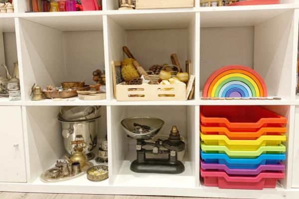 Gratnells rainbow trays inside ikea kallax shelves