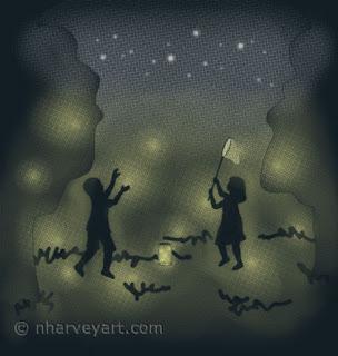 """""""On a Summer's Eve"""" digital art, children catching fireflies"""