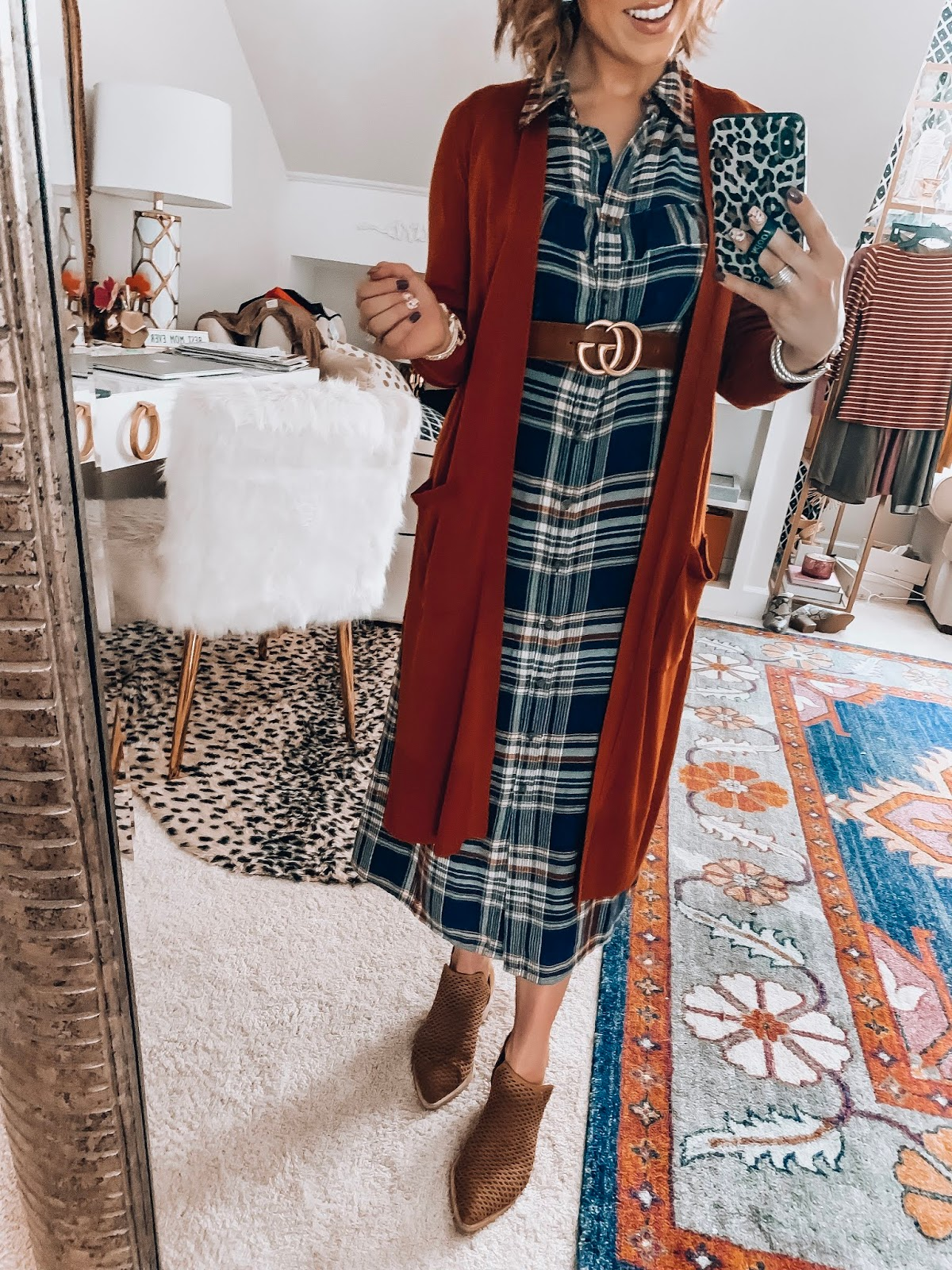 Target Fall Finds: Part Three - Flannel Plaid Midi Dress and Long Cardigan - Something Delightful Blog #FallStyle #TargetStye